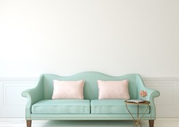 40032339 - romantic interior with blue couch near empty white wall. 3d render.