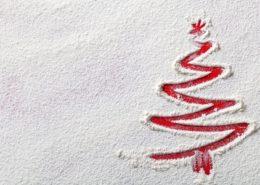 31578503 - christmas tree on flour background. white flour looks like snow. top view